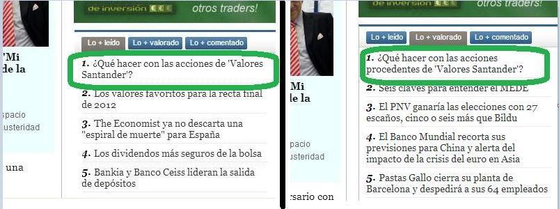 Imagen de las visitas y valoraciones sobre post de Luis García Langa con ayuda a los afectados por el Canje Valores Santander
